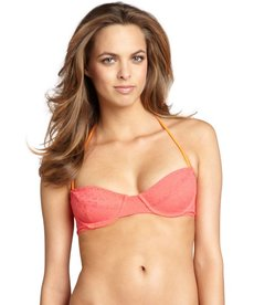 Shoshanna coral crocheted nylon underwire halter top