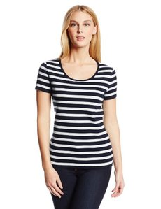 Jones New York Women's Striped Short Sleeve Scoop Neck Top