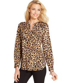 Charter Club Petite Animal-Print Button-Down Shirt