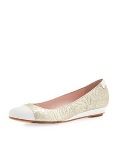 Taryn Rose Pamona Embroidered Flat, Soft Gold