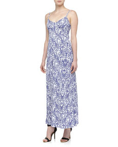 Susana Monaco Sleeveless Ikat-Print Jersey Maxi Dress, Dawn