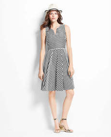 Petite Striped Split Neck Skirt Dress