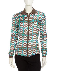Lafayette 148 New York Geometric Print Long-Sleeve Blouse, Robins Egg