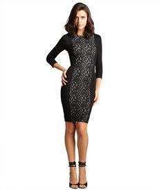 French Connection black and cream lace front long sleeved 'Lucia' stretch dress