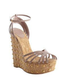 Gucci powder leather spiked cork wedge sandals