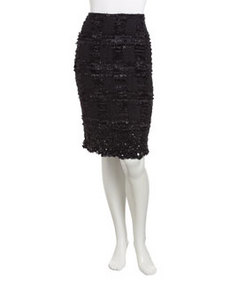 Lafayette 148 New York Jacquard Beaded-Hem Pencil Skirt, Black