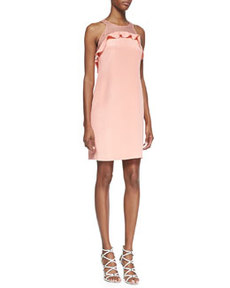 Sleeveless Ruffle-Bodice Shift Dress, Pink   Sleeveless Ruffle-Bodice Shift Dress, Pink