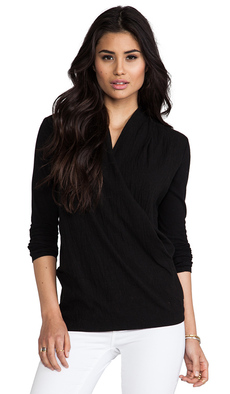 James Perse Relaxed Drape Front Top in Black
