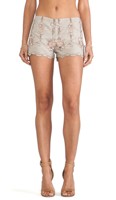 Anna Sui Rose Border Embroidered Shorts in Tan