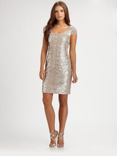 Kay Unger Lace-Trimmed Sequin Dress