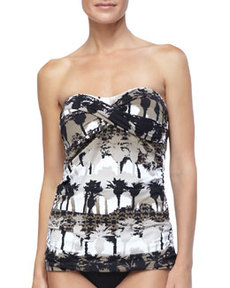 Tommy Bahama Scenic Palm-Print Long Bandini Top