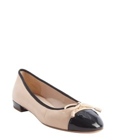 Prada powder and black cap toe bow detail ballet flats