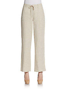 Saks Fifth Avenue BLUE Drawstring Wide-Leg Linen Pants