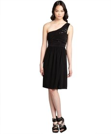 Max & Cleo black jersey knit sequin embellished one shoulder 'Emilly' dress