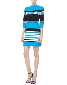 Michael Kors Striped Cotton 3/4-Sleeve Dress, Black/Pool