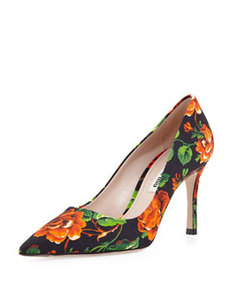 Floral Point-Toe Pump, Orange   Floral Point-Toe Pump, Orange