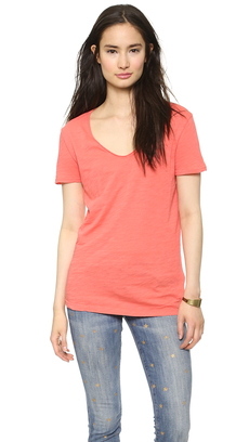 Three Dots Raw Edge Soft Slub Tee