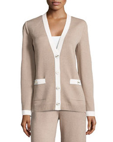 St. John V-Neck Contrast-Trim Cardigan, Bisque/White