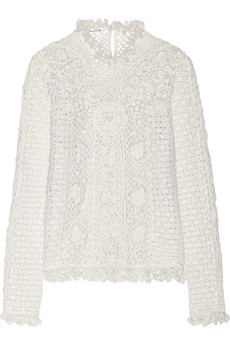 Oscar de la Renta Crocheted cashmere sweater