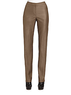 St. John Stretch Shimmer-Twill Straigh- Leg Diana Pants