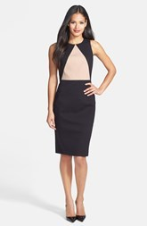 Classiques Entier® 'Reid' Textured Cotton Blend & Ponte Sheath Dress