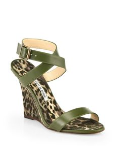 Manolo Blahnik Lecara Leopard-Print Satin & Leather Sandals