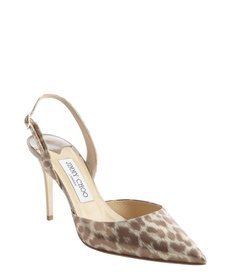 Jimmy Choo gold leather cheetah print 'Tilly' slingback pumps