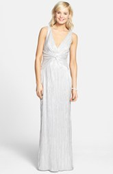 Laundry by Shelli Segal Front Knot Foiled Jersey Gown