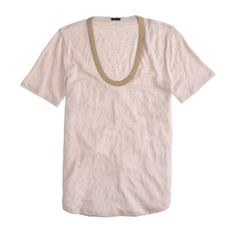 Metallic-trim linen scoopneck tee