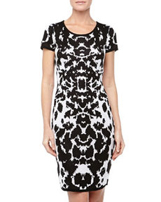 Marc New York by Andrew Marc Ikat-Print Knit Dress, Black/White
