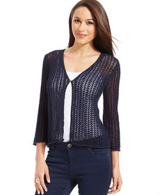 Jones New York Signature Petite Three-Quarter-Sleeve Open-Knit Cardigan