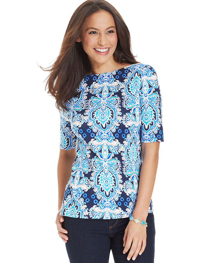 Charter Club Petite Elbow-Sleeve Boat-Neck Mosaic-Print Pima Cotton Tee