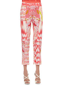 Mixed-Print Pants, Coral/Multicolor   Mixed-Print Pants, Coral/Multicolor
