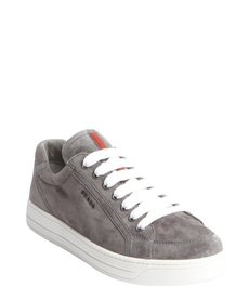 Prada grey and white suede lace up sneakers
