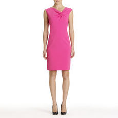 Sheath Dress with Asymmetrical Neckline