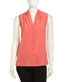 Lafayette 148 New York Gia Top-Pleated Charmeuse Blouse, Dragonfruit