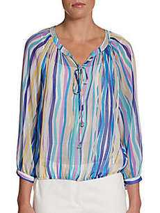 Ellen Tracy Studded Striped Peasant Top