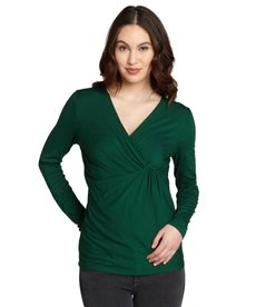Lafayette 148 New York emerald green ruched front pleated drape v-neck