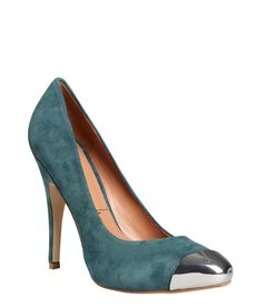 Sigerson Morrison dark teal suede metal toe 'Monna Lisa' pumps