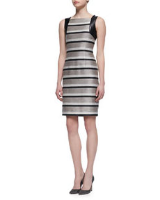 Sleeveless Striped Leather-Accent Sheath Dress, Taupe/Black   Sleeveless Striped Leather-Accent Sheath Dress, Taupe/Black