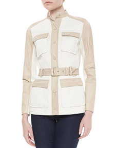 Tory Burch Tenley Two-Tone Belted Jacket