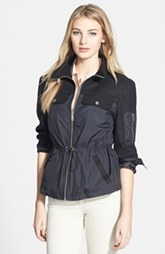 Kenneth Cole New York Front Zip Mixed Media Jacket