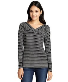 Three Dots black and white multi stripe criss-cross neck top