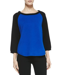Michael Kors Cashmere-Blend Colorblock Raglan Tunic, Royal
