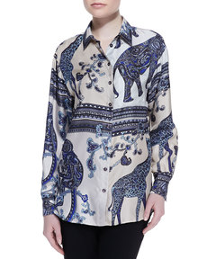 Etro Long Animal Printed Silk Blouse, Blue