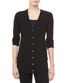 Michael Kors Cashmere V-Neck Cardigan, Black
