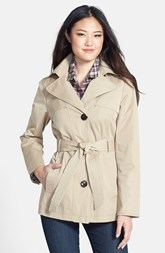 Ellen Tracy Belted Mini Trench Coat with Detachable Hood