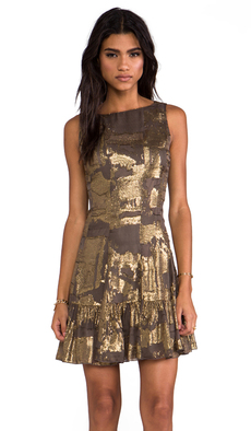 Anna Sui Klimt Print Tank Dress in Metallic Gold