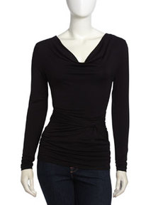 Laundry by Shelli Segal Long-Sleeve Cowl-Neck Knotted Top, Black