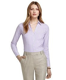 Non-Iron Fitted Thin and Wide Stripe Dress Shirt